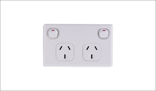 Double Power Point 10Amp Horizontal 10 PACK