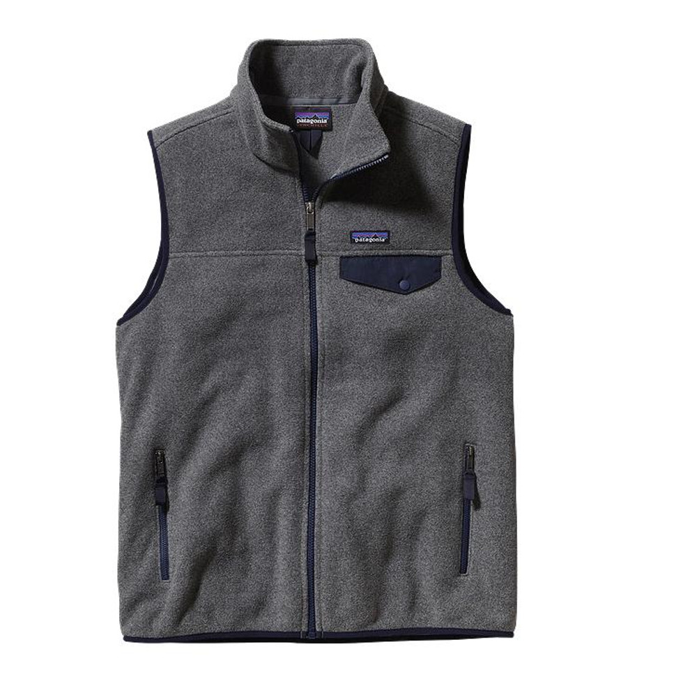 Patagonia Men's Lightweight Synchilla® Snap-T® Vest in Nickel with Navy Blue