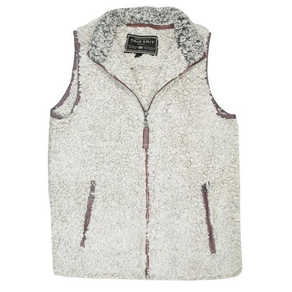 True Grit Frosty Tipped Pile Vest in Putty