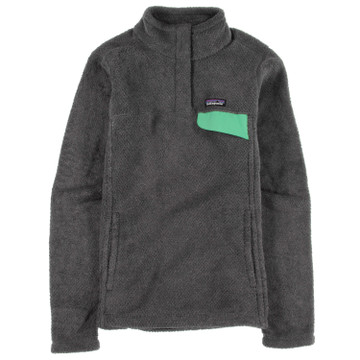 Patagonia Women's Re-Tool Snap-T® Fleece Pullover in Feather Grey - Ink Black w/Vjosa Green X-Dye  (FIVX)