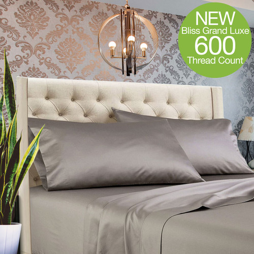Bliss Grand Luxe Bamboo Sheet Set - Polished Pewter - *NEW 600 Thread Count Luxury Sheet Sets