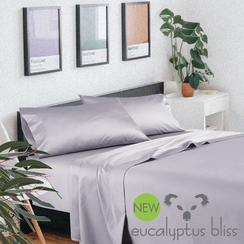 NEW! Eucalyptus Bliss - 600 Thread Count Eco-Luxury Sheet Sets - Silver Lilac