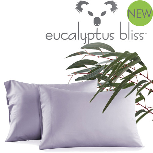 NEW! 600 Thread Count - Eucalyptus Bliss Pillowcase Set - Silver Lilac