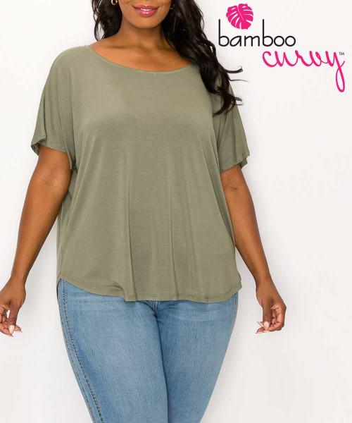 Bamboo Curvy Comfort Dolman Sleeve Top - Olive You