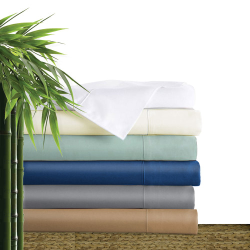 Bliss Villa Luxury 100% bamboo sheet sets. One fitted sheet, one flat sheet and two pillow cases per set. Available in 6 colors and 6 sizes. champagne beige, silver sky, ivory, white, platinum gray and caribbean blue. Sizes include: extra long twin, full/double, queen, king, california king and split king.