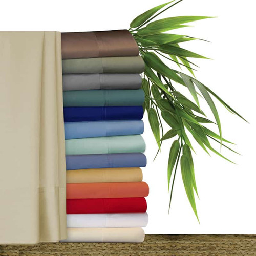 Original Bliss 100% bamboo sheet sets. Sets include; one fitted sheet, one flat sheet and two pillow cases. Available in 14 colors and 7 sizes. Colors include; peacock green, regal blue, cool blue, silver seafoam, forget me not blue, butterscotch, coral, cherry red, snow white, french vanilla, khaki linen, mocha brown, sage green and pewter gray. Available in sizes; twin, extra long twin, full/double, queen, king california king and split king