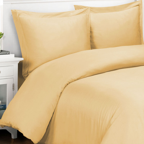 Original Bliss 100% bamboo duvet cover and sham set. 400 thread count and durable twill weave. Comes in 4 sizes and 14 colors. Color shown in  Butterscotch.
