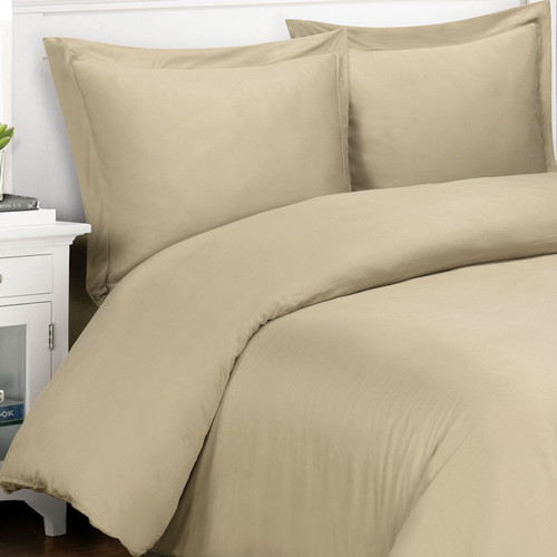 Original Bliss Signature Classic 100% Bamboo Duvet Cover and Sham Set. 400 thread count and durable twill weave. Comes in 4 sizes and 14 colors. Color shown in  Khaki Linen.