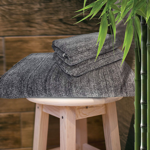 Bliss Villa Bamboo Melange 3pc Towel Set in Brushed Pewter. Set includes: One bath sheet and two hand towels.