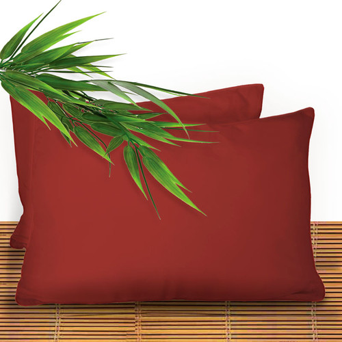 Bliss Villa Luxury Bamboo Pillow Sham Set in Cayenne Red
