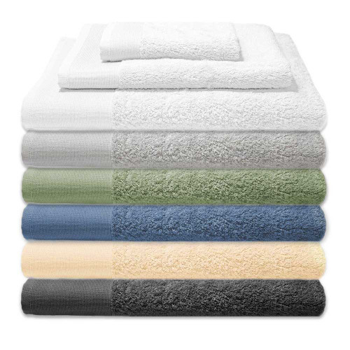 NEW Original Bliss Bamboo Bath Towel Sets. 3 piece sets include 1 bath towel, 1 hand towel and 1 washcloth. Available in 6 colors pictured top to bottom;  White, Sterling Gray,  Sage, Steel Blue, French Vanilla, and Slate Gray.