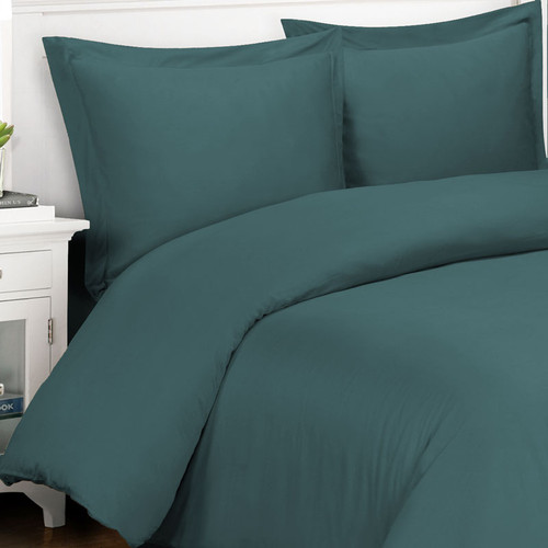 Original Bliss 100% bamboo duvet cover and sham set. 400 thread count and durable twill weave. Comes in 4 sizes and 14 colors. Color shown in  Peacock.
