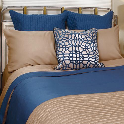 Reversible Bamboo Caribbean Blue/Champagne Beige Duvet Cover