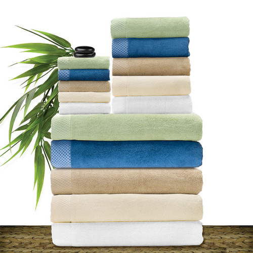 Bliss Villa Luxury Bamboo Bath Towels, Hand Towels and Washcloths - Honeydew, Caribbean Blue, Champagne Beige, Cream Ivory & White