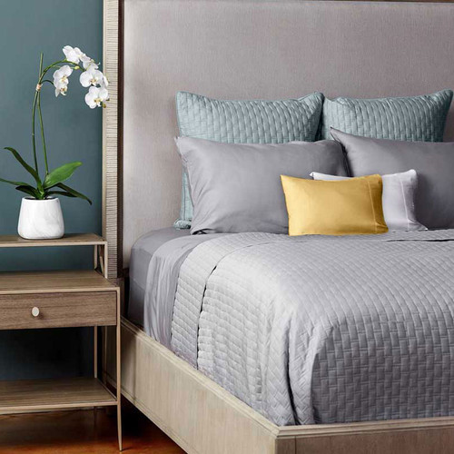 Bliss Villa Eco-Luxe Quilted Bamboo Coverlet Platinum Gray with Silver Sky Euro Shams