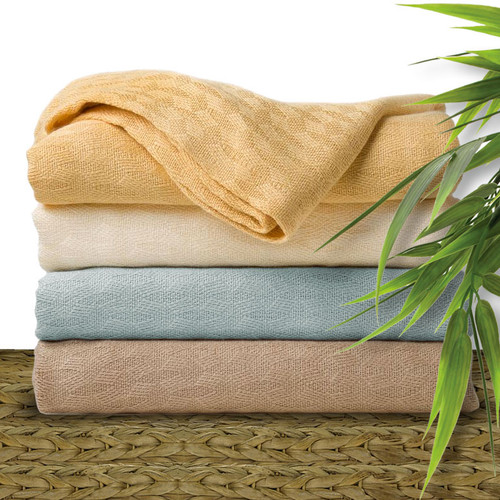 Natural Elegance Bamboo Blankets and Throws. Expertly woven 100% viscose bamboo. Available in 4 colors and two sizes. King and Queen - Available in: Buttercup, Champagne Beige and White. Twin/Throw - Available in: Buttercup, Silver Sky, Champagne Beige and Cream Ivory.