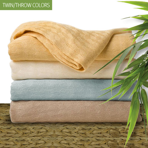 Pre-Order Save 10%. Natural Elegance Bamboo Blankets and Throws. Expertly woven 100% viscose bamboo. Available in 4 colors and two sizes. King and Queen - Available in: Buttercup, Champagne Beige and White. Twin/Throw - Available in: Buttercup, Silver Sky, Champagne Beige and Cream Ivory.