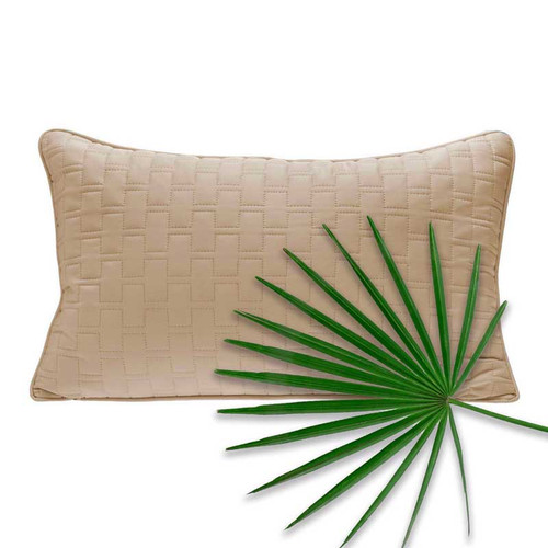 Bliss Villa Eco-Luxe Quilted Deco Throw Pillow in Champagne Beige
