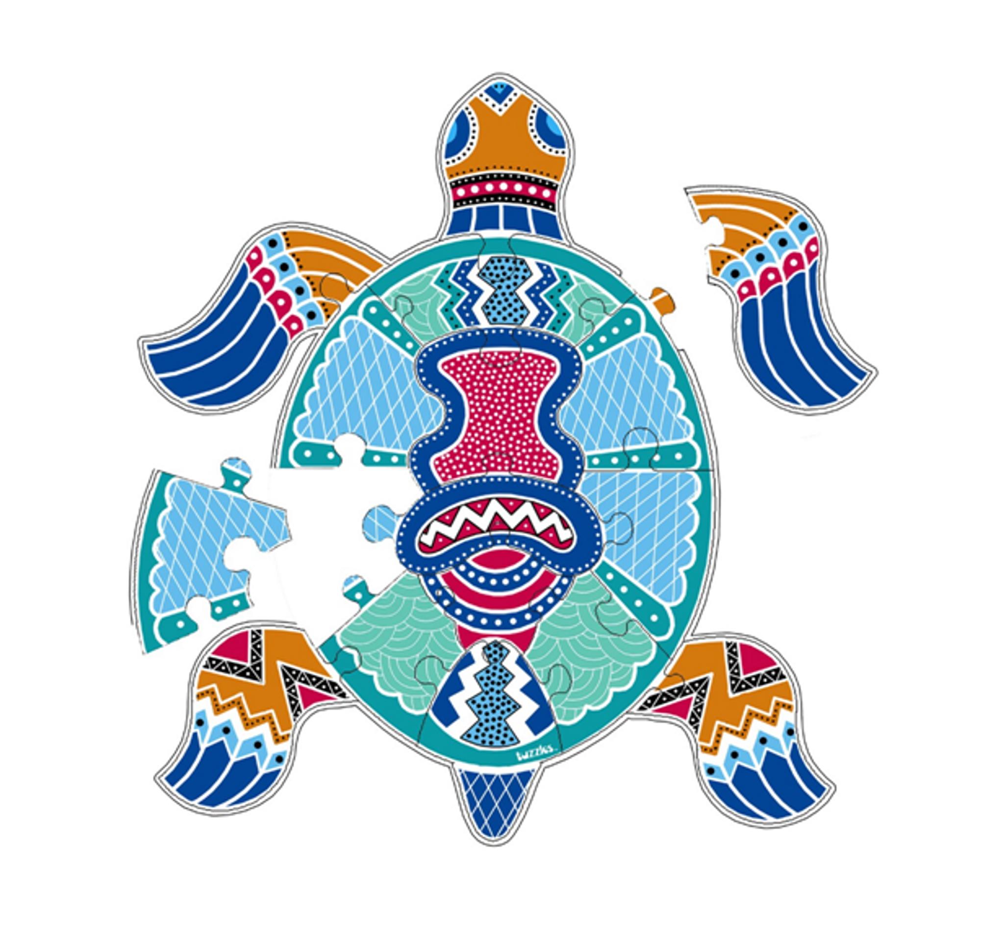 Aboriginal Art Turtle Wooden Floor Puzzle-16 pieces