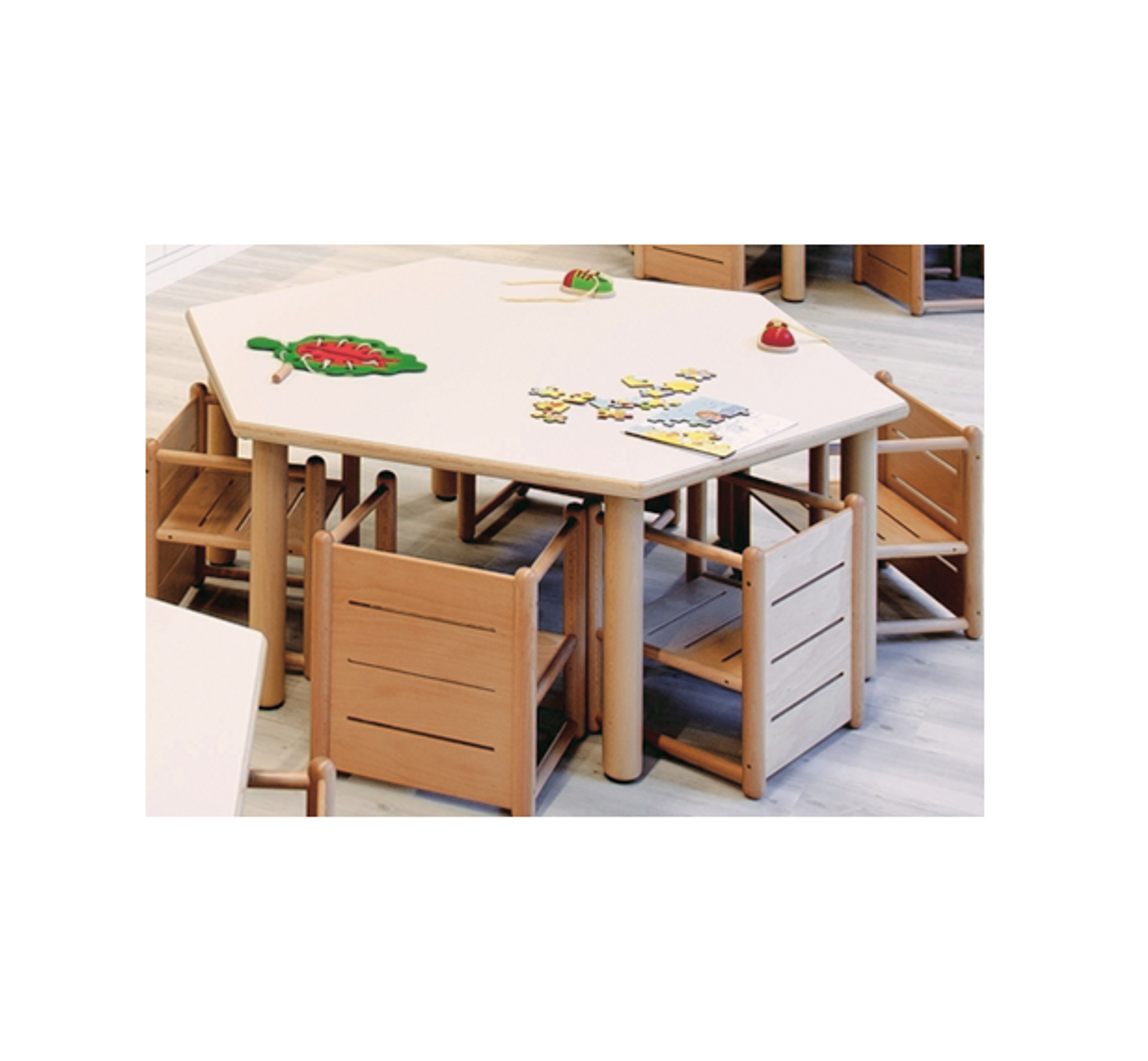 Hexagonal Table 128W X 111D X 40H (cm)