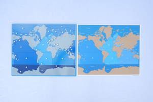 Map of Oceans and Seas Puzzle with Card Map of Outlines and Names