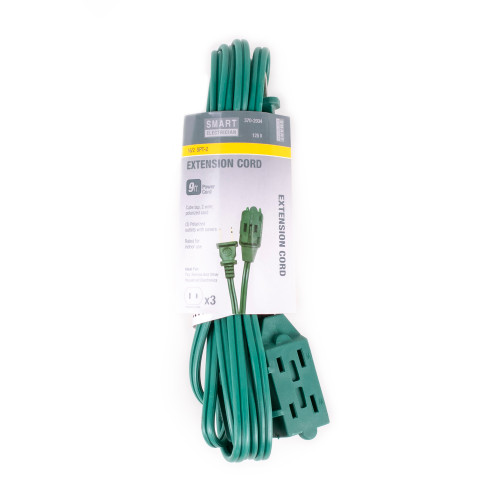 9' Indoor Extension Cord - Green