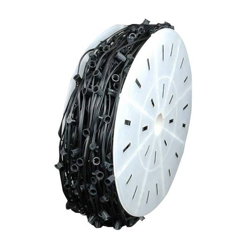 "C7 Socket Light Spool Black Wire 12"" Sockets"