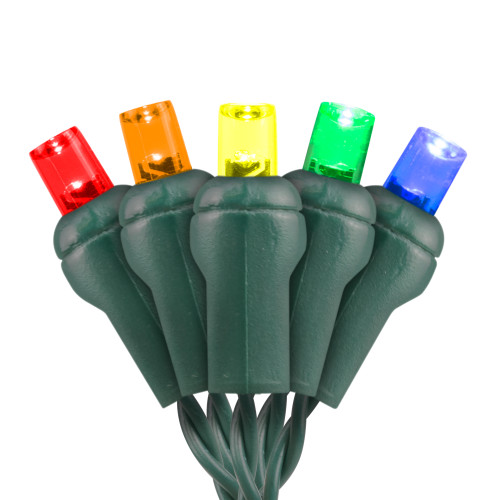 Premium Grade 5MM Conical LED Light - Green Wire - 70 Bulbs