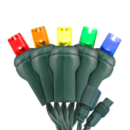 Commercial Grade 5MM Conical LED Light - Green Wire - 25 Bulbs