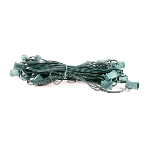 "25' C9 Socket Light Spool - Green Wire - 25 Sockets - 12"" Spacing"