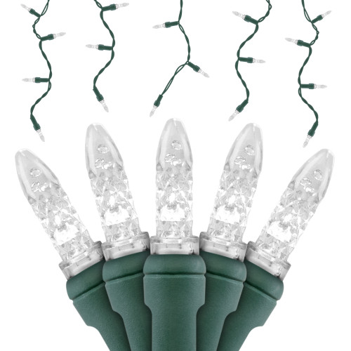 Premium Grade M5 LED Icicle Light - Green Wire - 70 Bulbs