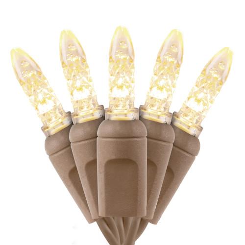 Premium Grade M5 Mini LED Light - Brown Wire - 70 Bulbs - Warm White