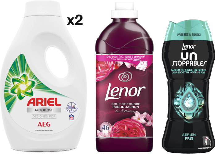 Bundle Fresh start: 2x Ariel AutoDose, 1x Lenor Softener, 1x Lenor Beads