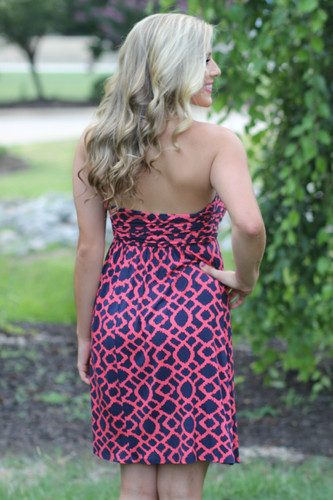 Now And Then Dress: Navy/Coral