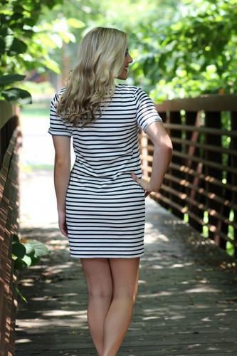 Boardwalk Striped Shift Dress: Ivory/Navy
