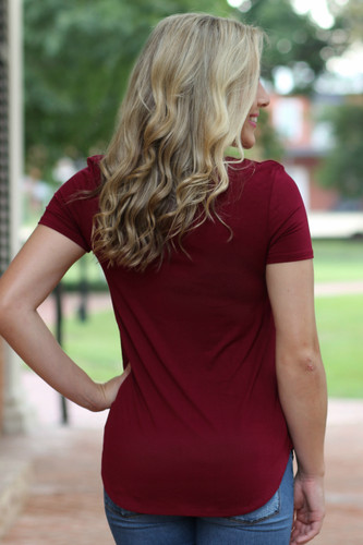 Criss Cross Top (Short Sleeve): Burgundy