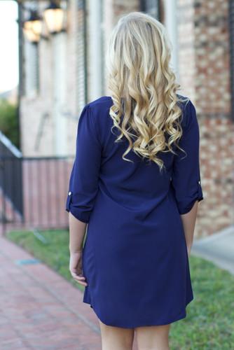Shift Dress: Navy