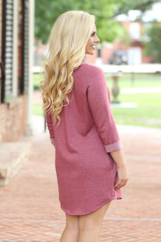 Sweatshirt Dress: Heather Burgundy