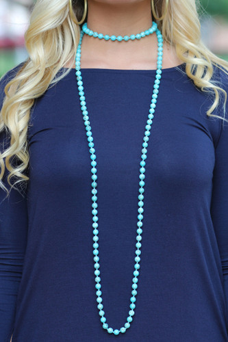 Beaded Necklace: Turquoise