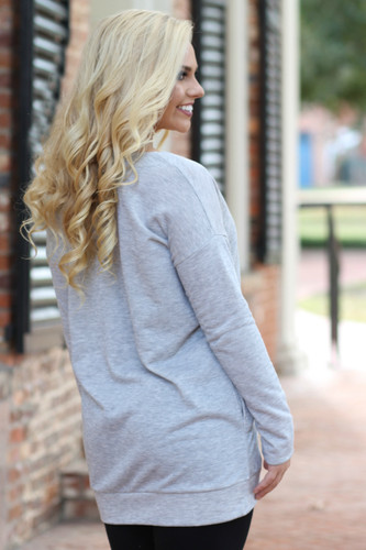 Lace Up Sweatshirt Tunic: Heather Grey
