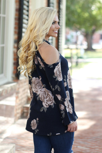 Turn Heads Floral Top: Navy