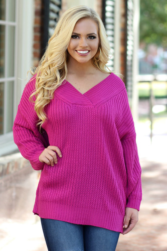 Current Obsession Sweater: Fuchsia