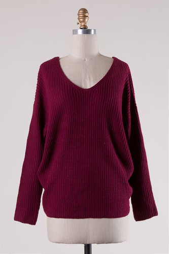 Twist Back Sweater: Burgundy