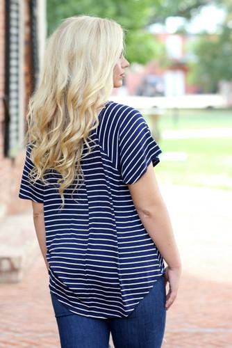 Drop Shoulder Top: Navy Striped