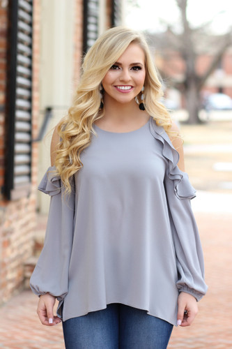 Perfect Bliss Cold Shoulder Top: Grey