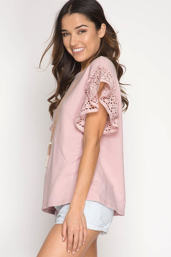 Apple Of My Eyelet Top: Dusty Pink