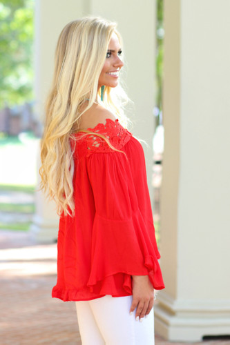 Swing My Way Off The Shoulder Top: Red