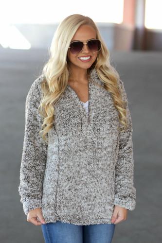 Luxe Sherpa Pullover: Mocha