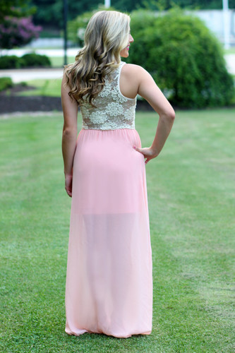 Tropical Occasion Maxi Dress: Blush