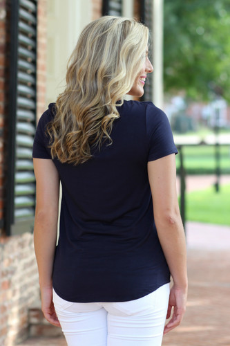 Twisted Up Tee: Navy